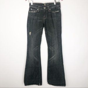 7 for All Mankind Black Distressed Flare Jeans